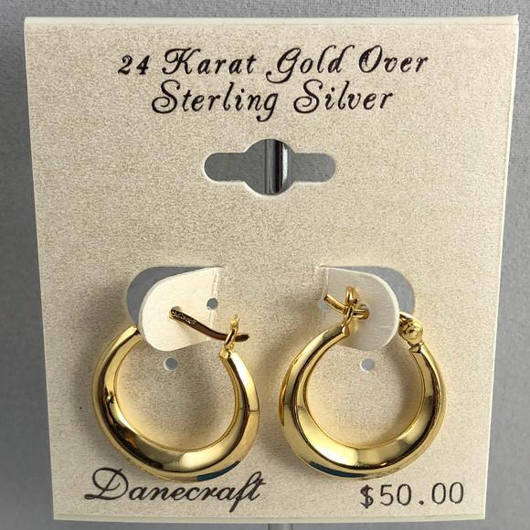 Danecraft Other - Vintage 3/4in 24K Gold over 925 Silver Huggy Hoops